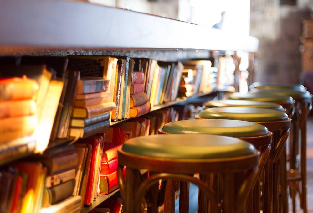 Bookshelves in old bar
